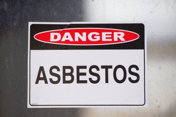 Danger Asbestos Warning Sign on Glass