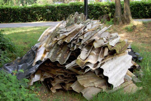 broken asbestos roofing